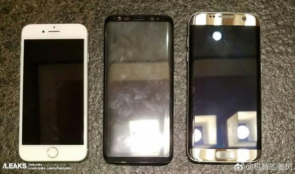 最新谍照显示 Galaxy S8 比 S7 edge 略小一圈的照片