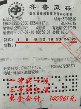 16元小复式拿下140961元 多亏他的这句话