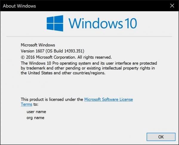 Windows 10周年更新迎累积更新 升至Build 14393.351的照片 - 1
