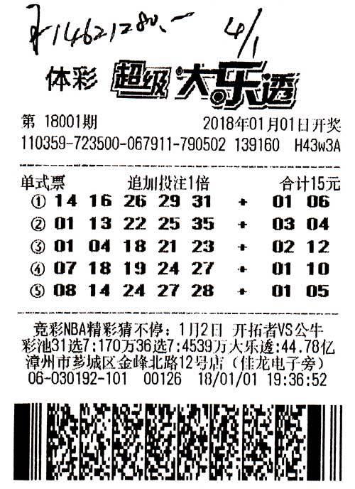 福建漳州彩民机选号追加幸运中大乐透1462万