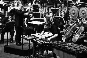 著名作曲家、指挥家谭盾携奥地利青年打击乐演奏家马丁·格鲁宾格庆祝国交六十周年。