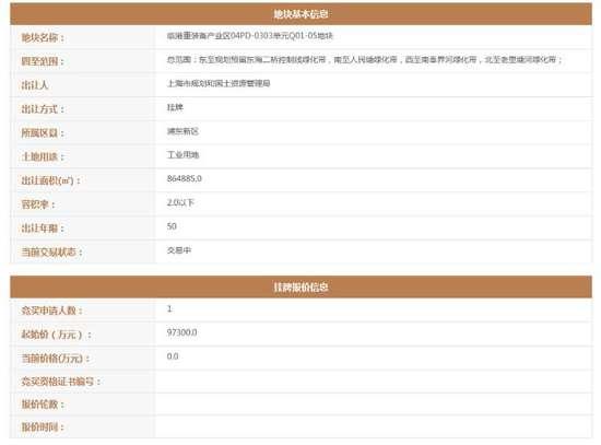 特斯拉上海工厂选址浮出 86万平方米用地挂牌出让