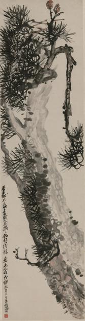双松</p><p>作者:吴昌硕</p><p>创作年代:1908</p><p>规格:185.7×48.2cm</p><p>