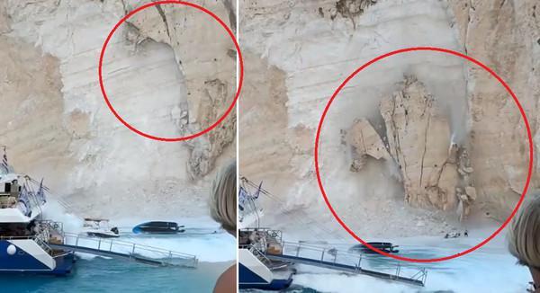 岩壁掉下瞬间,下面还有游客