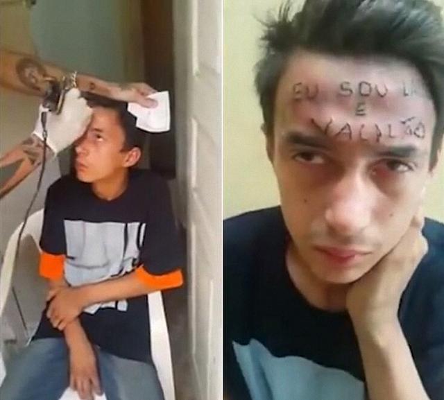 """偷车少年额头被纹身:""""我是小偷,我是失败者"""""""