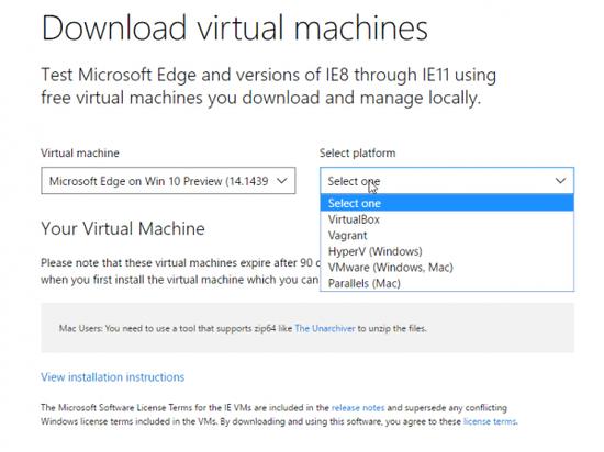 微软提供支持Win10预览版和EdgeHTML 14的预配置虚拟机的照片 - 2