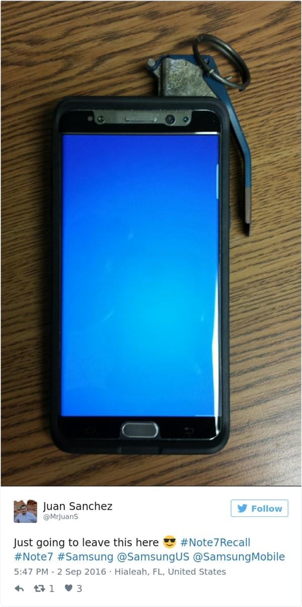 Note 7电池爆炸事件频发 全球网友奋力恶搞的照片 - 5