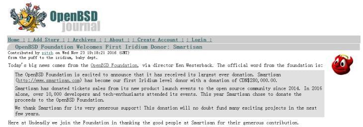 开源组织OpenBSD确认收到锤子科技捐款的照片 - 2