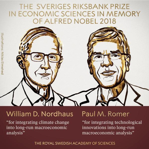 Nordhaus和Romer获得2018年诺贝尔经济学奖