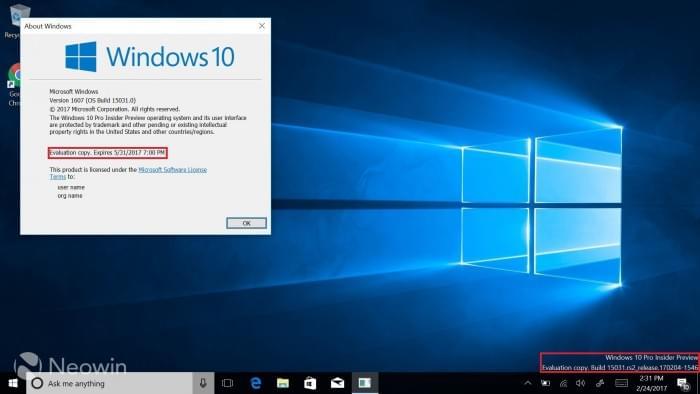 Windows 10 Build 15042发布:水印和过期时间已移除的照片 - 2