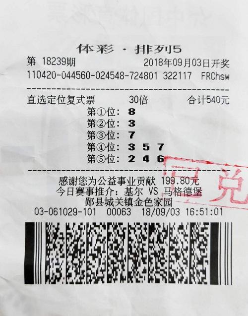 彩友540元投注中300万大奖 称号码已守50期