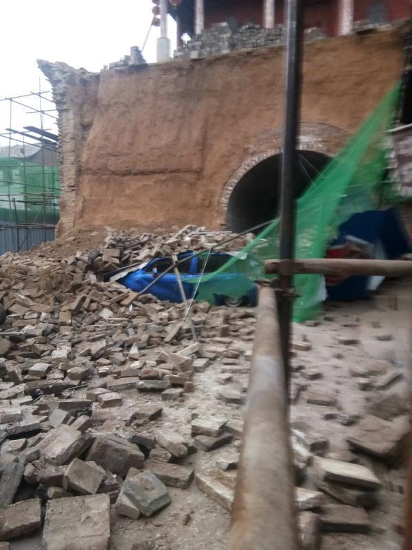 山西太谷:省级文保单位鼓楼墙体脱落 正抢救保护