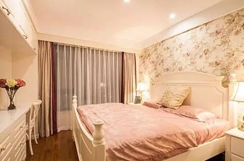 87平欧式家,欧式田园风,竖条纹壁纸,餐厅背景墙,青岛欧式婚房