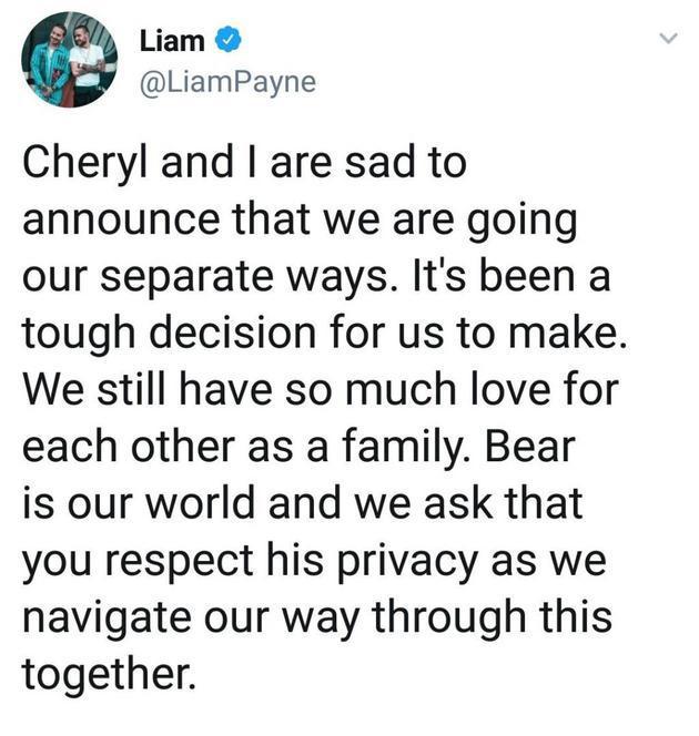 Liam Payne分手声明