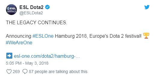 ESL One汉堡2018德国汉堡11月举行 或为第二赛季首场比赛