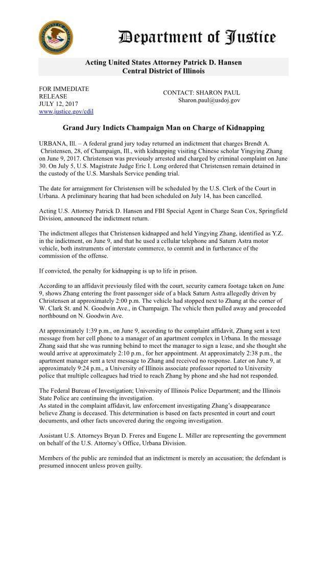 美国联邦大陪审团正式起诉章莹颖案嫌疑人