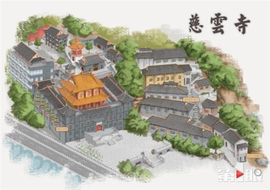 重庆市勘测院采用手绘地图的方式勾画出了慈云寺传统风貌.