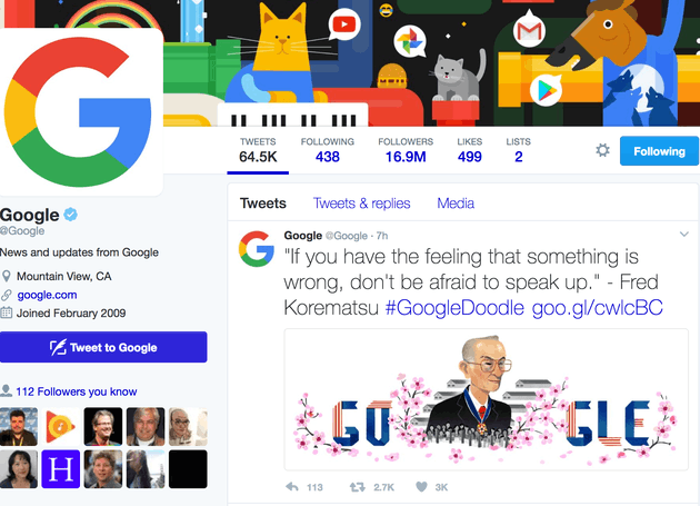 谷歌官方Twitter引用了是松丰三郎的名言谷歌官方Twitter引用了是松丰三郎的名言