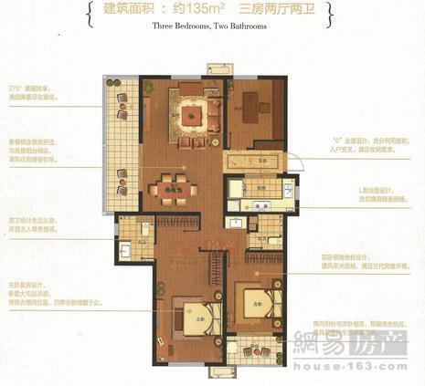芜湖万科海上传奇135㎡三房两厅两卫户型解析