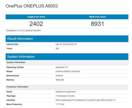 一加6现身跑分网站多核近9K:搭载骁龙845芯片