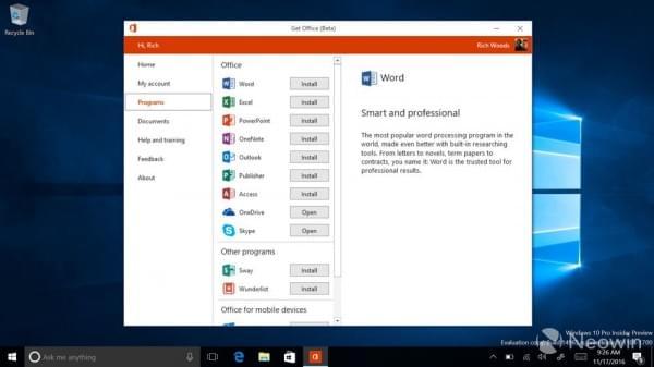 Windows Insider项目成员现可体验新版Office Hub的照片 - 2