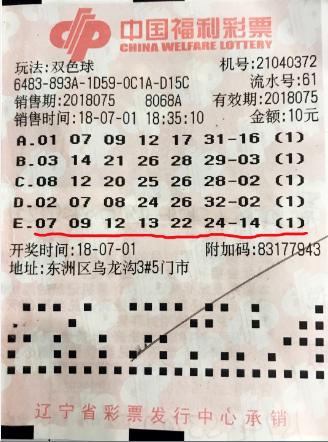 PK10官网抚顺彩民出奇招 坚持1年获双色球二等奖