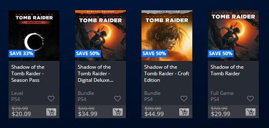 SE打特价 《古墓丽影:暗影》全线5折 PlayStation美服大促销