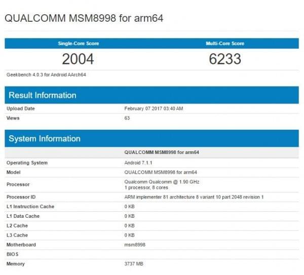 高通骁龙835(MSM8998)亮相跑分库的照片 - 2