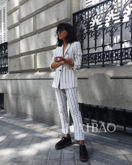 时尚博主Maria Bernad条纹元素造型