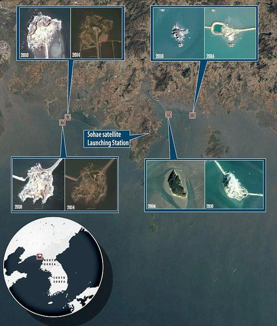 最新卫星图:朝鲜在黄海修建5个人工岛 用途不明