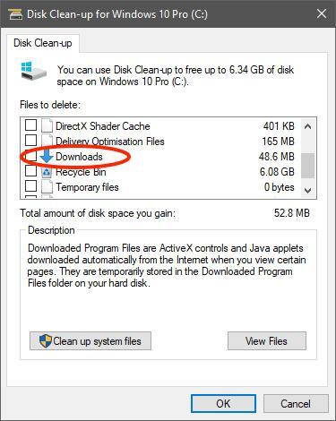 Win10 v1809磁盘清理有变动:全选将清空下载文件夹