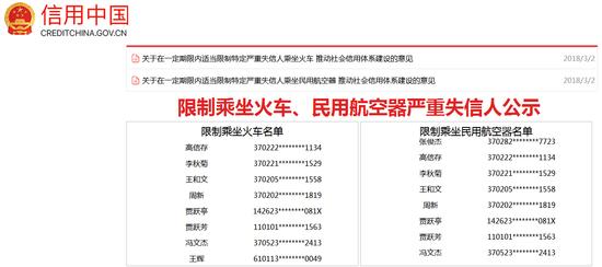 首批限制乘坐火车飞机名单公布 贾跃亭、贾跃芳在列