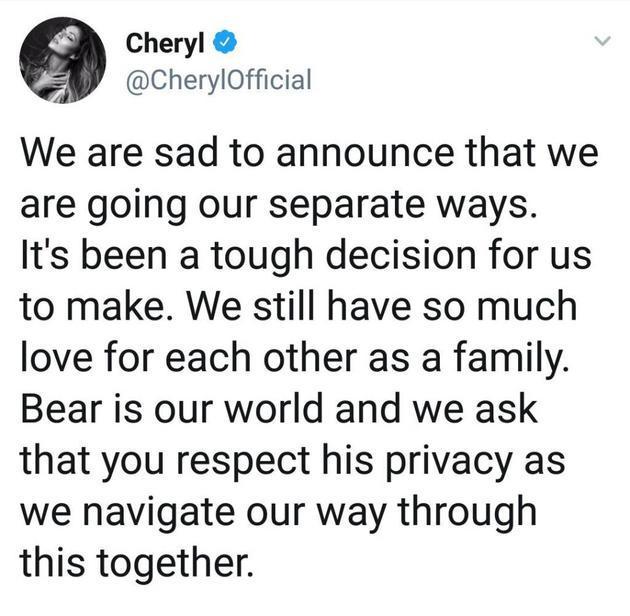 Cheryl Cole分手声明