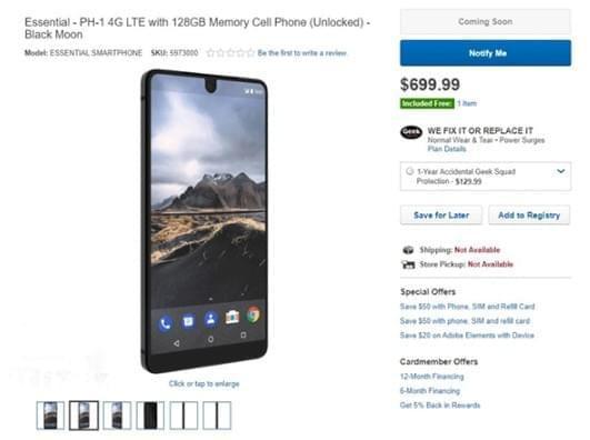 开卖 安卓之父Essential手机上架百思买