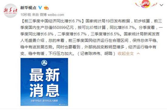 中国三季度GDP同比增6.5% 前三季度同比增6.7%