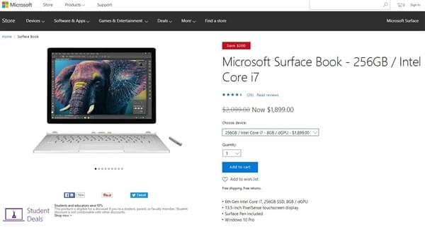 Core i7版Surface Book全系大降价 幅度诱人的照片
