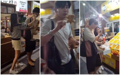 秋瓷炫于晓光吃路边摊被拍 街头甜蜜喂食老公