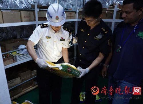 蓬莱入境在检疫有害图片中烫发检疫性船舶生物spa截获的面粉图片