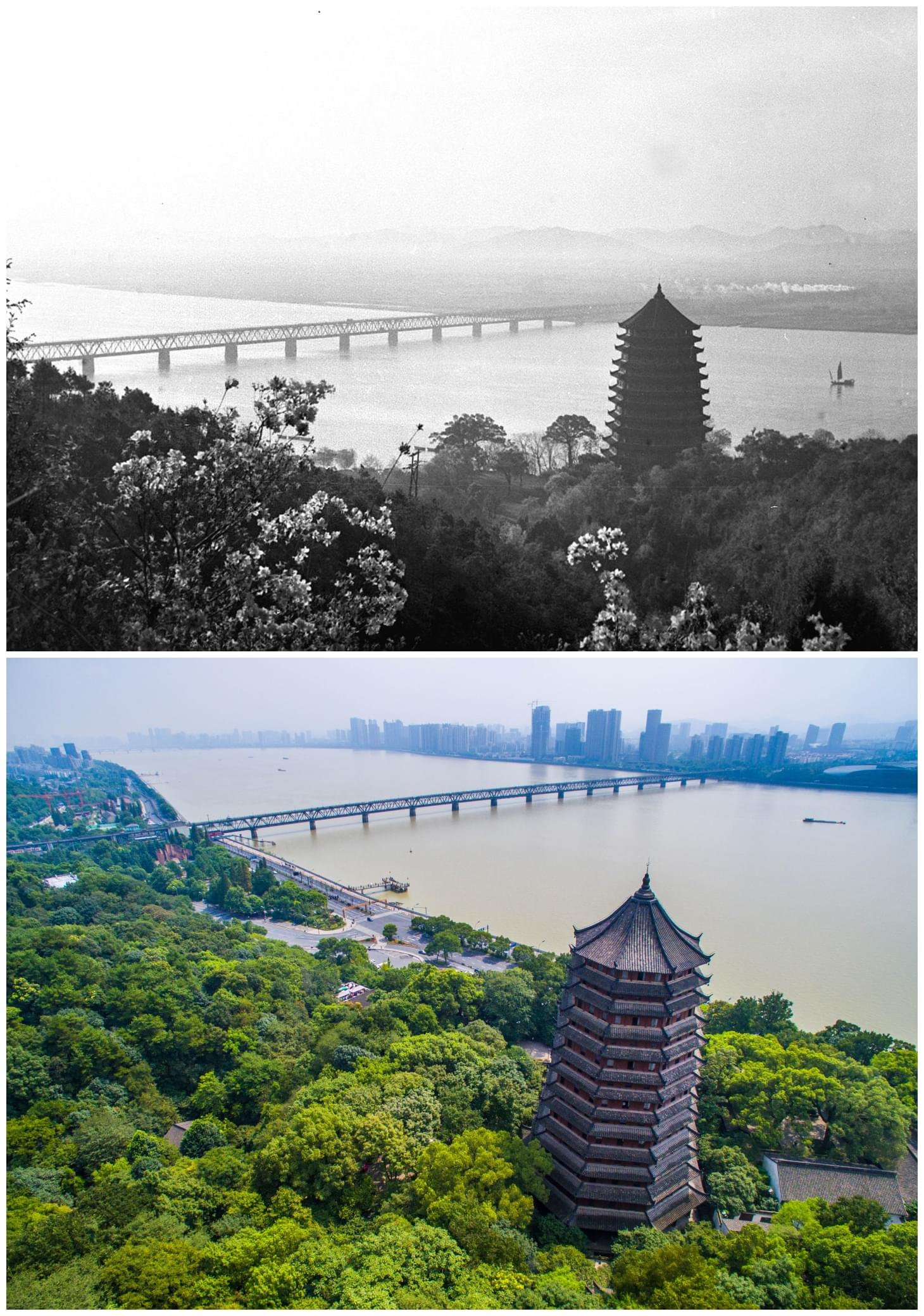 位于杭州钱塘江边的六和塔(拼版照片:上图为新华社1962年播发的资料