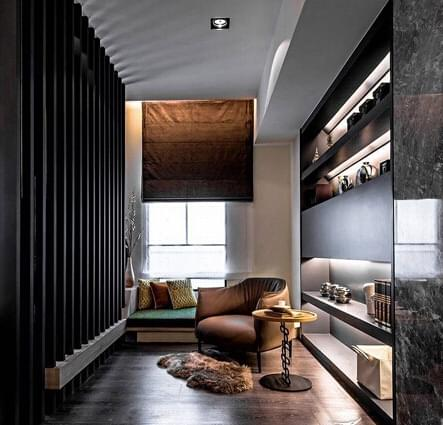 书房木地板,红棕色木地板,中式书房,田园风格,开放书架,青岛书房设计
