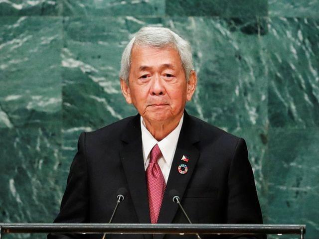 9月24日,菲律宾外交部长亚赛在纽约联合国大会上发言。(图片来源:新华/路透)