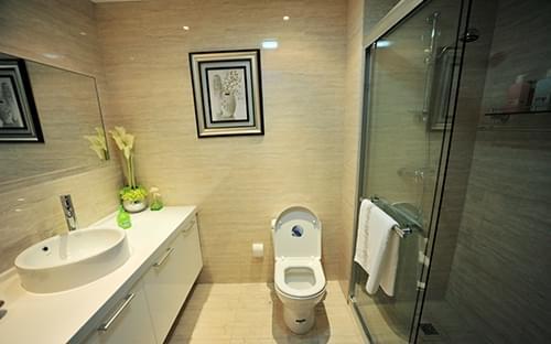 卫浴装修,瓷砖铺贴,干湿分区,淋浴区,混搭,青岛装修