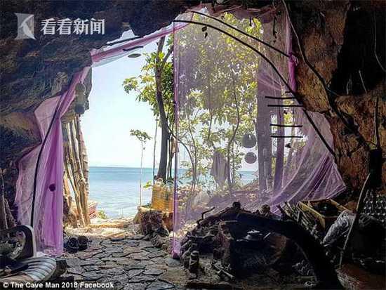 泰国流浪男子将洞穴打造成海景房 约会俄罗斯美女