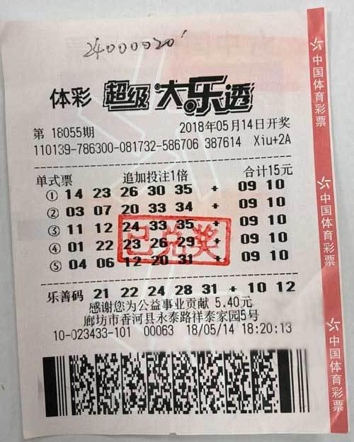 女子189元复式斩获2450万封顶奖 号码非随机