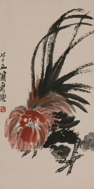 公鸡</p><p>作者:齐白石</p><p>创作年代:1935</p><p>规格:147.4×34.4cm</p><p>