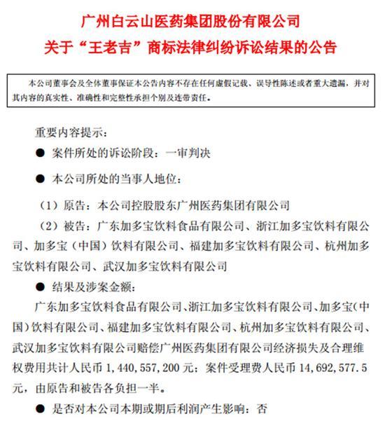 王老吉商标案件一审宣判:加多宝赔偿14.4亿元