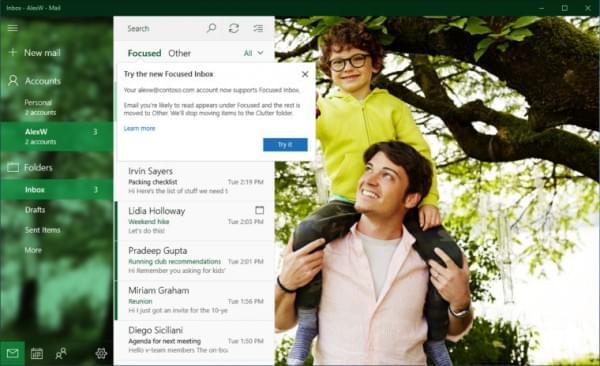 Win10邮件和日历应用迎重大更新:Focused Inbox功能上线的照片 - 1