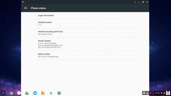Chrome OS运行Android 7.1.1截图曝光的照片 - 2