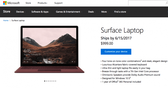 微软Surface Laptop笔记本电脑在20个国家开启预售