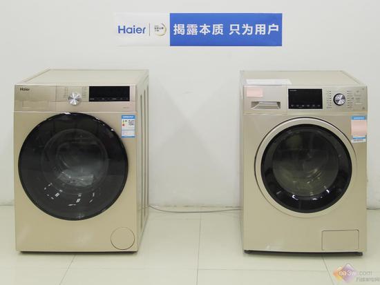 (左为海尔盖世系列洗烘一体机,右为同价位另一品牌洗烘一体机)